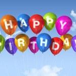 Happy Birthday balloons in the sky — Stock Photo