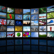 Stock Photo: Wall of flat tv screens