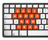 Teclado de computador de ano novo 2011 — Fotografia Stock