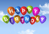 Happy Birthday balloons in the sky — Stock Photo