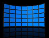 Wall of flat tv screens — Zdjęcie stockowe