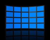 Wall of flat tv screens — Stock Photo