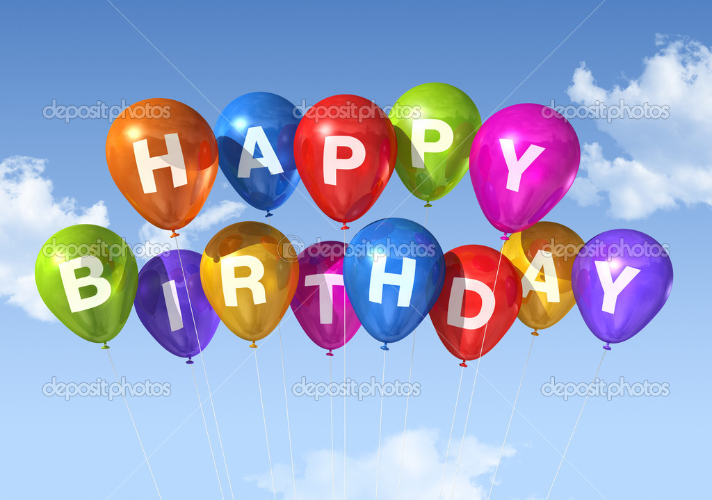 Colored Happy Birthday balloons in the sky  Stock Photo #4444972