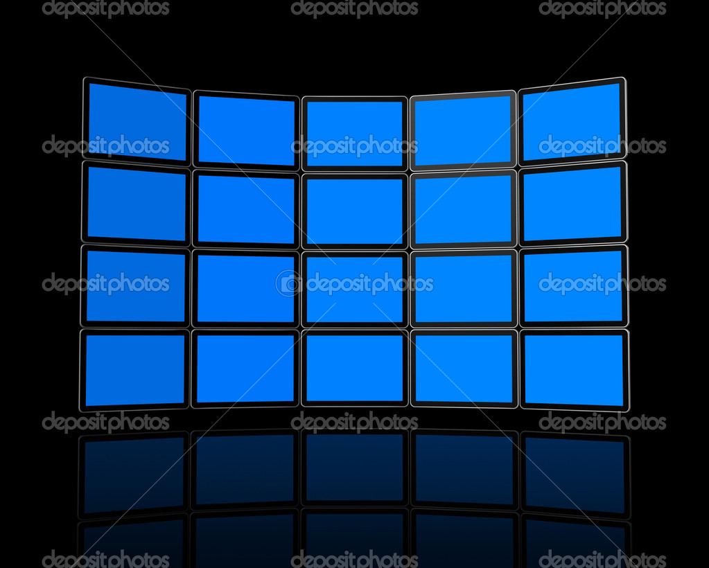 3D panel / Wall of flat tv screens, isolated on black. With 2 clipping paths : global scene clipping path and screens clipping path to place your designs or pic  Stock Photo #4445008