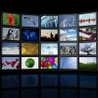 video wall made of flat tv screens — Stock Photo