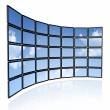 Video wall of flat tv screens - Stock Photo