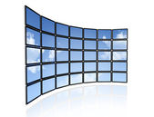Video wall of flat tv screens — Stock Photo