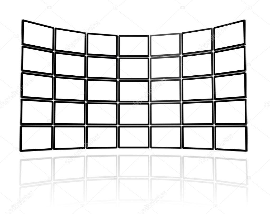 video wall made of flat tv screens  u2014 stock photo  u00a9 daboost