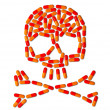 Skull made of capsule pills — Stock Photo