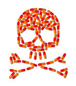 Skull made of capsule pills — Stock Photo