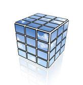 Video kub av platt sky tv-skärmar — Stockfoto