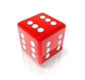 Six red dice — Stock Photo