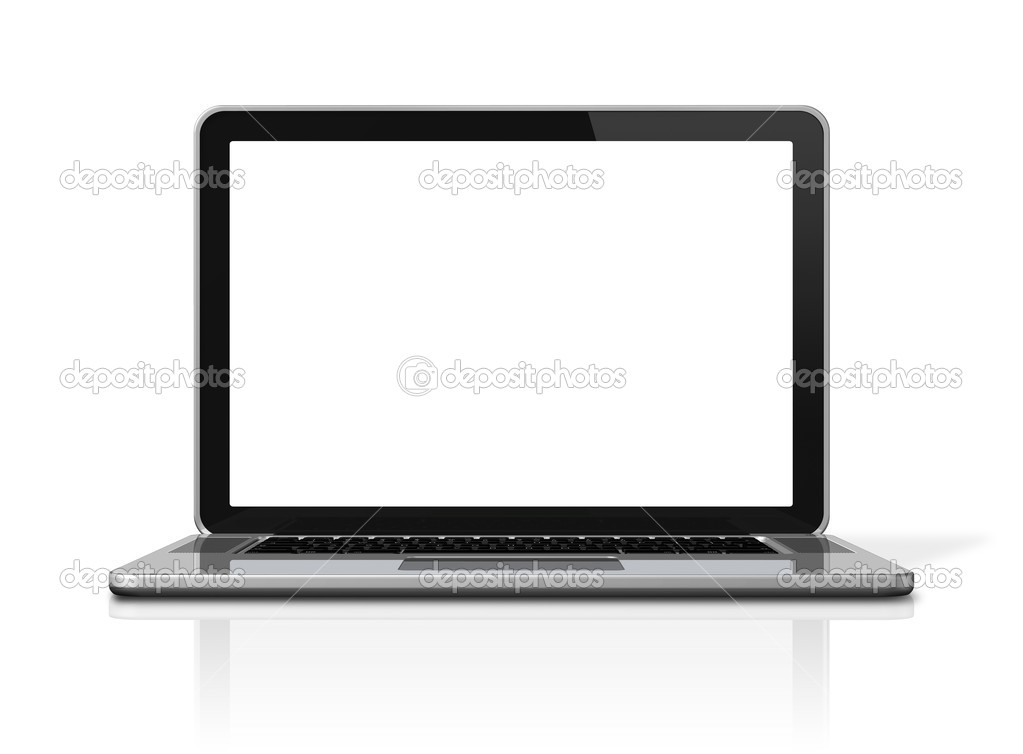 3D blank laptop computer isolated on white with 2 clipping path : one for global scene and one for the screen — Stock Photo #5011040