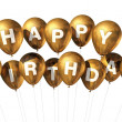 Gold Happy Birthday balloons — Stock Photo