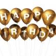 Gold Happy Birthday balloons — Stock Photo