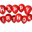 Red Happy Birthday balloons — Stock Photo