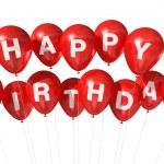 Red Happy Birthday balloons — Stock Photo