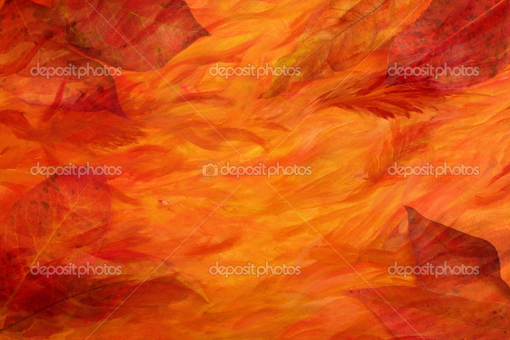 Artistic autumn background - leaves combined with colorful acrylic painted paper — Stock Photo #4021259