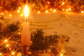 Christmas card with candlelight — Stock Photo