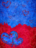 Blue and red hearts — Stock Photo