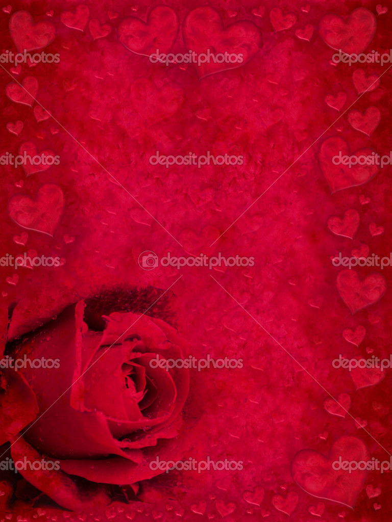 Red  greeting card with rose bud and hearts — Stock Photo #4855262
