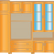 Stock Vector: Shelving for living room