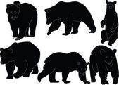 Bears collection silhouette — Stock Vector