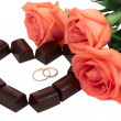 Roses and Chocolate — Stock Photo