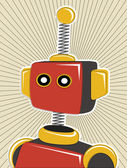 Robot colored in retro offset style and colors lines surrounding — Stock Vector