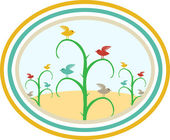 Birds on stalks in field framed in colorful circles. — Stock Vector