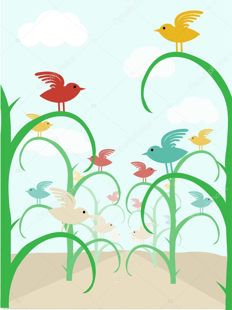 Abstract colorful birds in row of stalks vector illustration  Stock Vector #4040713