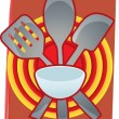 Royalty-Free Stock Vector Image: Baking Utensils grouped together in front of bulls eye like abstract backgr