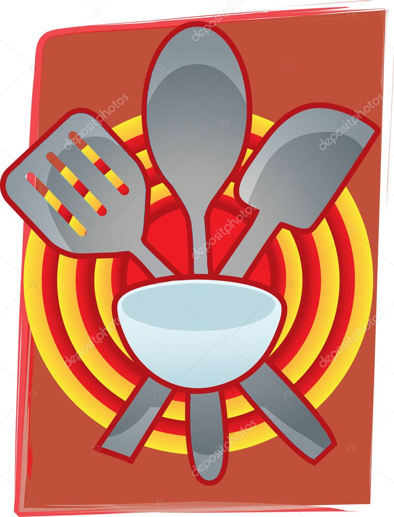 Spatula and spoon crossed together in abstract bright red bulls eye setting vector illustration — Stock Vector #4078852