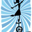 Silhouette of Woman balancing on unicycle on rope - Stock Vector