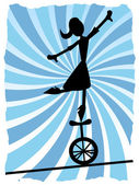 Silhouette of Woman balancing on unicycle on rope — Stock Vector