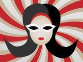 1960s Woman's Head inside Swirl vector illustration — Stock Vector