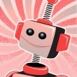 Royalty-Free Stock Vector Image: Valentine Robot Portrait Smiling Swirl and Halftone