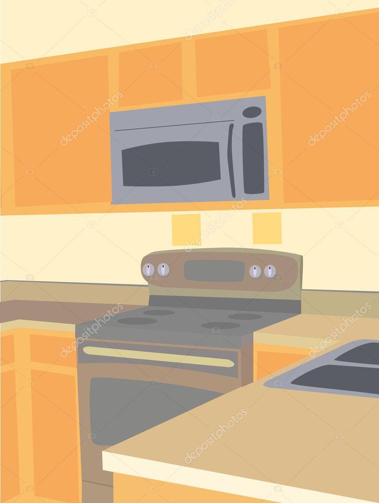 ecke abgewinkelt blick auf leere k che mikrowelle und herd gegenoberseiten stockvektor. Black Bedroom Furniture Sets. Home Design Ideas
