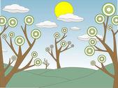 Abstrata delineada árvores colinas campo sol nuvens — Vetorial Stock