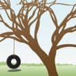 Tire swings hangs from leafless tree in grass field daytime — Vector de stock