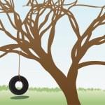llanta oscilaciones cuelga del árbol sin hojas en campo de hierba diurna — Vector de stock