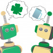 Stock Photo: Two robots thinking about St. Patrick's Day clover and beer