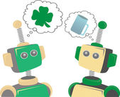 Two robots thinking about St. Patrick's Day clover and beer — Stock Photo