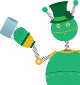 Green retro style springy robot wearing clover hat and holding beer glass — Stock Vector