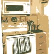 Sepia kitchen microwave and oven grungy rough boarder — Imagen vectorial