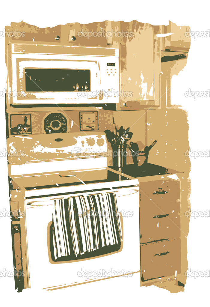Slice of sepia modern kitchen with details, grungy rough boarder edges editable vector illustration   Stock Vector #4697172