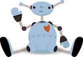 Sad sitting robot waves — Stock Vector