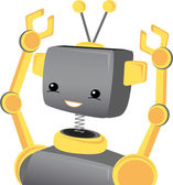 Child Robot Smiles Wavs Arms Ups — Stock Vector