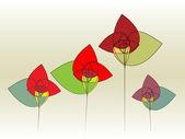 Quattro illustrazioni vettoriali astratti di strano vivida forma fiori — Vettoriale Stock