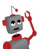 Bored Sad Cartoon Robot Waves — Stock Vector